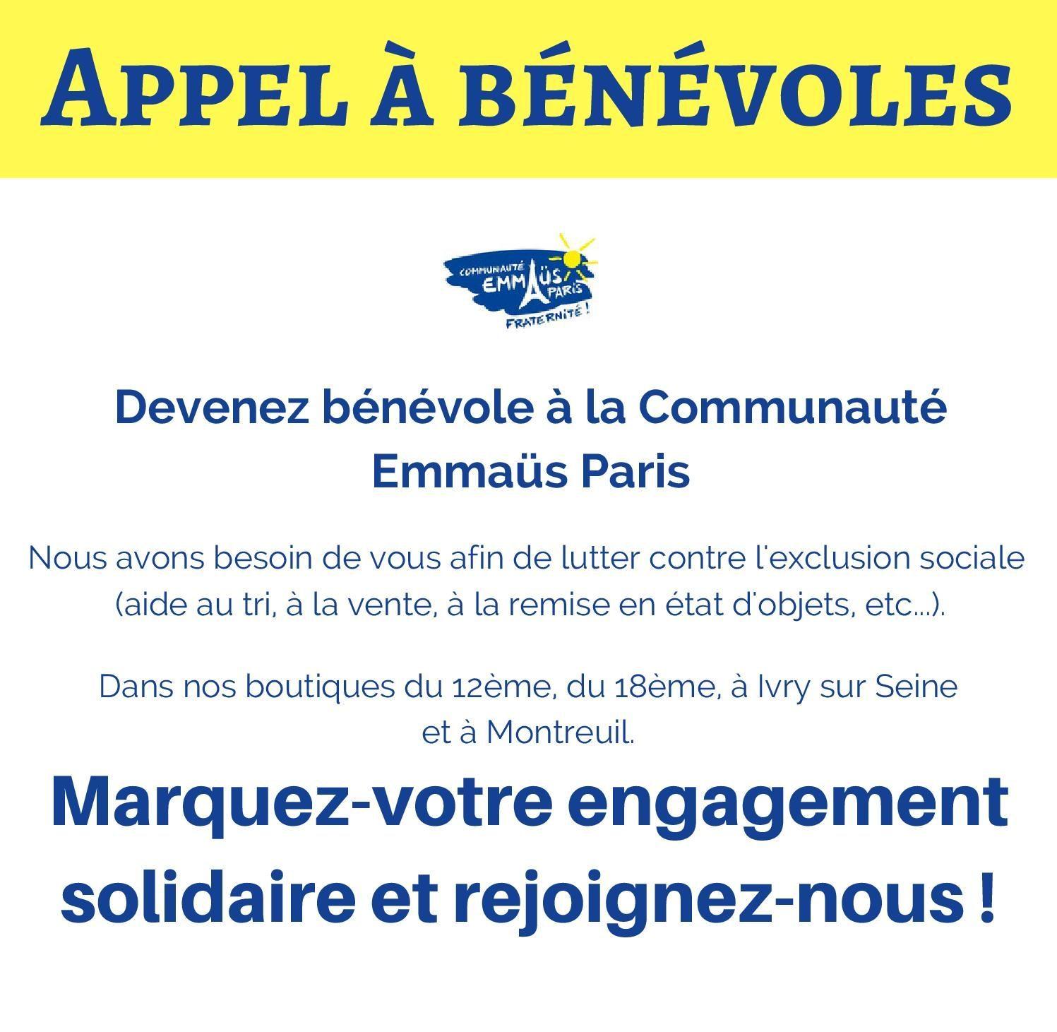 Appel à bénévoles Communauté Emmaüs Paris